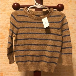NWT Gap Tan and Blue Striped Sweater 12-18 months